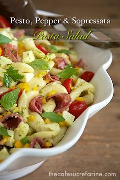 Perfect for feeding a crowd. Also keeps well so the leftovers make delicious weekday lunches. Pesto, Pepper & Sopressato Pasta Salad