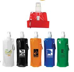 Folding water bottle promotional product from http://www.newportpros.com/   Great attendee gift since it's lightweight and travels easily. Folds flat or rolls up & clips with carabiner clip.
