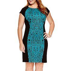 jcp | Studio 1® Short-Sleeve Brocade Panel Sheath Dress - Plus