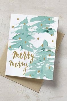 Merry Merry Christmas watercolor card