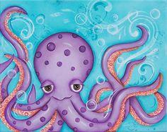 Octopus Childrens Wall Art 8x10 Print by WallFlowerArtBotique, $18.00