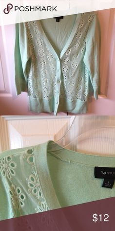 AB Studio brand mint cardigan with lace detail Cute cardigan that has a sheer front made of lace in excellent condition and only worn once. From a smoke free and dog friendly home. AB Studio Sweaters Cardigans