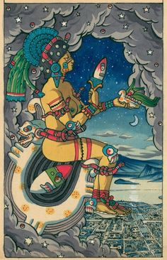 aztec Coyolxauhqui This is a painting of Coyolxauhqui, Bells Ringing on her Cheeks, who is Our Lady the Moon, the Aztec Teotl of that heavenly body. She appears enthroned on the moon, which is Aztec Paintings, Original Paintings, Aztec Culture, Aztec Warrior, Aztec Calendar, Aztec Art, Mesoamerican, Moon Goddess, Chicano