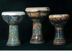 Full Circle Drums (from left to right: Medium doumbek height 14 in and headsize 9 inches, Large doumbek height is 16 inches and headsize 10.5 in, Small one on right is 12 inches high with a headsize of 7 inches.)