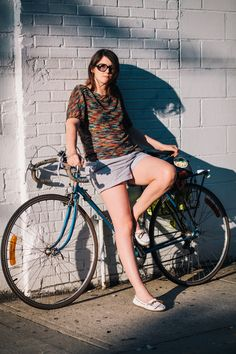 Jenny rides a Peugeot 10-speed bike photographed at West 21st St. and 10th Ave., Manhattan going home from work