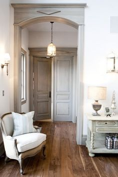 White-washed grey trim accents and doors ....