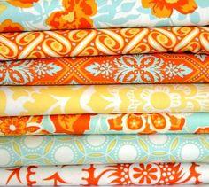 Custom Crib Bedding - 2 piece Set, Heirloom in aqua and tangerine.  via Etsy.