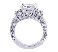 Round Diamond Three Stone Vintage Filigree Engagement Ring