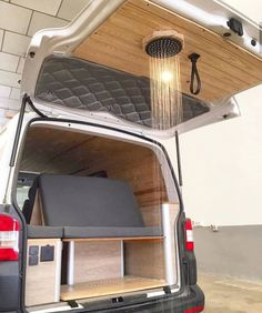 Is this a good addition to a conversion? What do you think. Living in the Caribbean, outside showers were epic. Van Conversion Interior, Camper Van Conversion Diy, Build A Camper, Kombi Home, Van Home, Campervan Interior, Motorhome Interior, Rv Interior, Interior Design