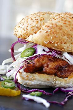 Fried Chicken Sandwich with Jalapeno Slaw and Spicy Mayo