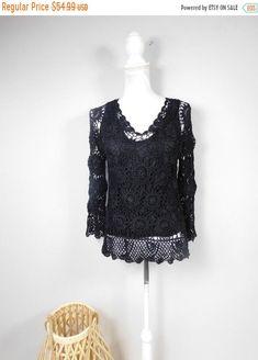 50% OFF SUMMER SALE Vintage Joseph A. Black Knitted Lace Crochet Open Holey Vneck Scalloped Hem Long Sleeve Sweater Top Shirt Blouse Medium by WearingMeOutVtg on Etsy Mom Pants, Vintage Hippie, Large Scarf, Scalloped Hem, Blazer Buttons, Black Knit, Lace Knitting, Summer Sale, Long Sleeve Sweater