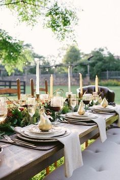 gilded pears as plcae setting for fall  outdoor table setting