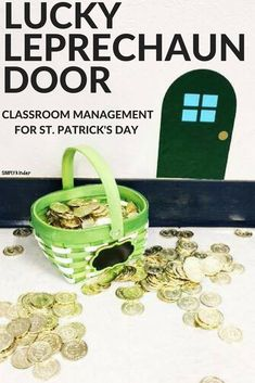 Lucky Leprechaun Door Classroom Management Trick for Spring. Download our free door at Simply Kinder #springintheclassroom #classroommanagement