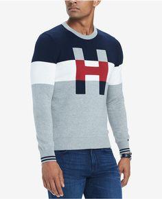 Tommy Hilfiger Men's H Colorblocked Sweater - Orange XXL Sueter Tommy Hilfiger, Hipster Jackets, Polo Shirt Design, Tommy Hilfiger Sweatshirt, Mens Sweatshirts, Pull, Men Sweater, 50 Fashion, Mens Fashion