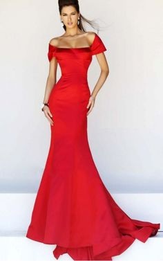 Cap Sleeves Zipper Satin Off The Shoulder Mermaid Formal Dresses gjea70110