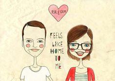 custom couple portrait,custom portrait, valentines card, valentines gift, custom wedding illustration