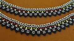 """Necklace of beads """"Ethno"""". Beaded Necklace Patterns, Beaded Bracelets Tutorial, Necklace Tutorial, Beaded Earrings, Bead Jewellery, Beaded Jewelry, Hanging Beads, Ankle Chain, Beaded Anklets"""
