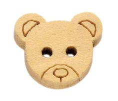 200 Bear Wood Sewing Buttons Scrapbooking 13x11mm