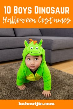 10 Boys Dinosaur Halloween Costumes Halloween is a time for fun and dress up and we all know how much little boys love dinosaurs, so here are some amazing boys dinosaur Halloween costumes. Scary Kids Costumes, Kids Dress Up Costumes, Dinosaur Halloween Costume, Cute Baby Costumes, Creative Halloween Costumes, Happy Mom, Parenting Hacks, Little Boys, Dinosaurs