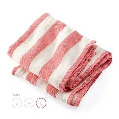 Brahms Mount Linen Bath Sheet, Coral Awning Stripe