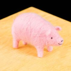 WoolPets Pig needlefelting kit. Learn the art of sculptural needle felting! Kit includes felting needles, wool roving, and step by step photo instructions that make this craft a snap. Kit makes one pi