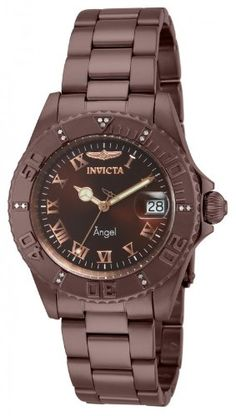 Invicta Womens Angel Diver Swiss Quartz Diamond Accented Brown IP Stainless Steel Watch 14721 ** You can find more details by visiting the image link.