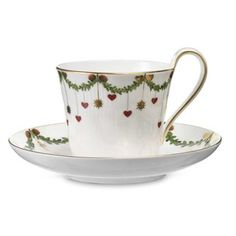 The Holidays :: Christmas Dinnerware :: Royal Copenhagen: Star Fluted :: Royal Copenhagen Star Fluted Christmas cup and saucer