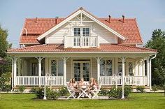 A frame dormer Red Roof House, House With Porch, Dream House Exterior, Exterior House Colors, House Paint Color Combination, Porch Veranda, Nordic Home, Swedish House, Porches