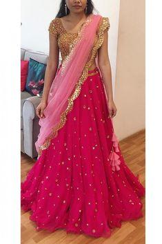 Georgette Lehenga Choli In Pink Colour WhatsApp us for Indian Lehenga, Half Saree Lehenga, Lehnga Dress, Lehenga Style, Lehenga Blouse, Red Lehenga, Sari, Lehenga Choli Wedding, Banarasi Lehenga