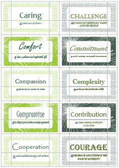100 Value Cards (C) inspired from Motivational Interviewing. Print out on Avery business cards and use with clients to help them define and prioritize their values. Counseling Activities, School Counseling, Therapy Activities, Therapy Tools, Art Therapy, Therapy Ideas, Coping Skills, Social Skills, Motivational Interviewing