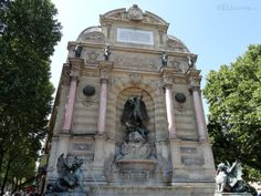 This photo shows the Fontaine Saint Michel which was designed by Grabriel Davioud, showing just some of the fantastic details such as the marble columns, intricate statues and much more.  Want to learn more? Go to www.eutouring.com