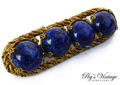 Antique 1930's Blue Lapis Lazili Bar Pin//Brooch, Brass Metal Vintage Jewelry