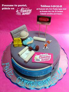 Delicioso pastel de fondant para ingenieros, arquitectos y demás constructores 3d Cakes, Fondant Cakes, Cupcake Cakes, Engineering Cake, Civil Engineering, Beautiful Cakes, Amazing Cakes, Architecture Cake, Cake For Husband