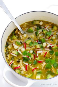 Easy Chicken Posole Verde -- ready to go in just 20 minutes! | http://gimmesomeoven.com #soup
