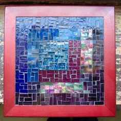 Asymmetric Log Cabin Mosaic Trivet in Navy and by nutmegdesigns Mosaic Art, Stained Glass, Scrap, Sparkle, Cabin, Texture, Navy, Color, Design