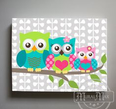 Hey, I found this really awesome Etsy listing at https://www.etsy.com/listing/180932726/owl-decor-girls-wall-art-owl-canvas-art