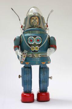 Vintage Blue Rosko Astronaut Tin Robot by Nomura Original | eBay