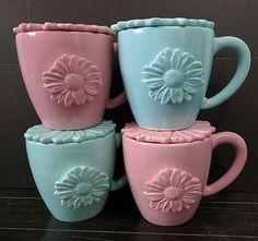 4x Starbucks Daisy Mugs w/ Lids Pink Blue Flowers 2006 Floral Hand Painted Set
