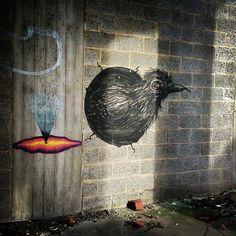 by ferdinandfeys: A mini #ROA that soon will be gone. #streetart #Belgium #Gent #graffiti #visitgent #bird #urbex