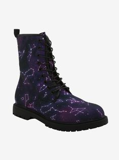 Dr Shoes, Cute Shoes, Me Too Shoes, Galaxy Shoes, Galaxy Outfit, Lace Up Combat Boots, Latest Shoes, Cool Boots, Unique Boots
