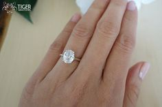 2 Carat Oval Cut Engagement Ring 4 Prong Man by TigerGemstones