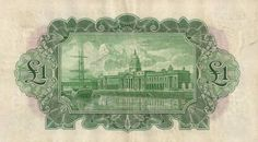 Consolidated Banks series, showing reverse (showing the Custom House & River Liffey, Dublin) Old Irish, Price Guide, Dublin, Custom Homes, Banks, Vibrant, Notes, River, Design