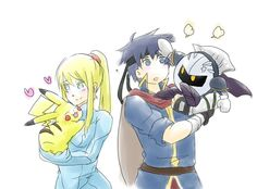 Samus with Pikachu and Ike with Meta Knight