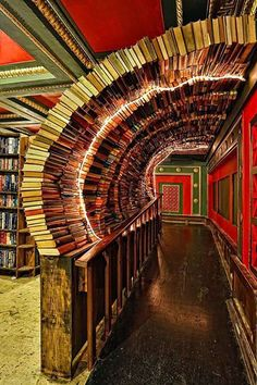What a book store! Do, you think if you remove one book they will all come down?