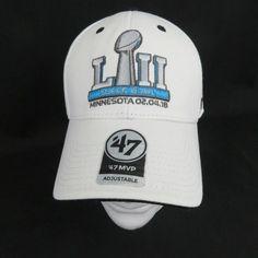 cheaper dd769 d7d74 Details about New Super Bowl LIII 53 Hat Cap Minnesota Patriots Eagles NFL  47 Brand White 2018