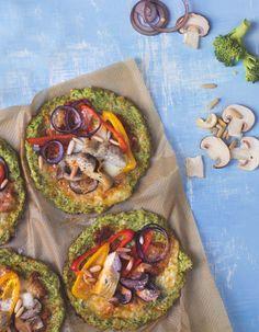 Mini-Veggie-Pizza mit Brokkoli-Boden