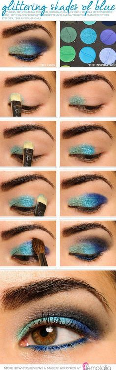 Sparkling Peacock Eye Makeup Tutorial | Gorgeous & Easy Eye Makeup Tutorials For Brown Eyes | Eye Shadow Tutorials at http://makeuptutorials.com/gorgeous-easy-eye-makeup-tutorials-brown-eyes-eye-shadow-tutorials/