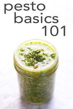 Use a simple ratio to make your own pesto with less traditional ingredients. | FusionCraftiness.com | basil, pistachios, evoo, garlic, parmesan, condiment