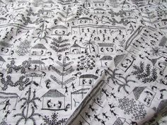 Warli Print Black and White Indian by EcoFabricStore on Etsy