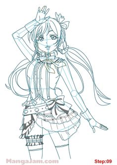 How to Draw Toujou Nozomi from Love Live step 09